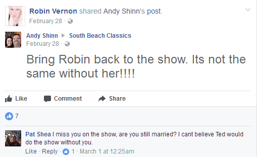Robin Vernon's fan posted to come back in the show South Beach Classics