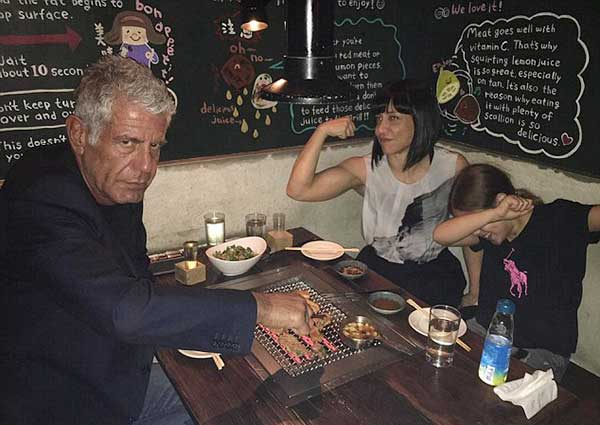 Nancy Putkoski's husband Anthony Bourdain with second wife Ottavia Busia and a daughter named Ariane