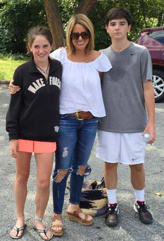Jill Rhodes with her son and daughter