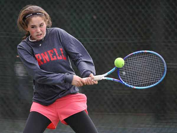 Jill Rhodes's daughter Kelly Hannity playing tennis in Cold Spring Harbor