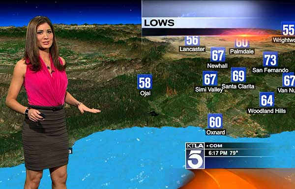 Liberte Chan in weather channel KTLA explaining the weather