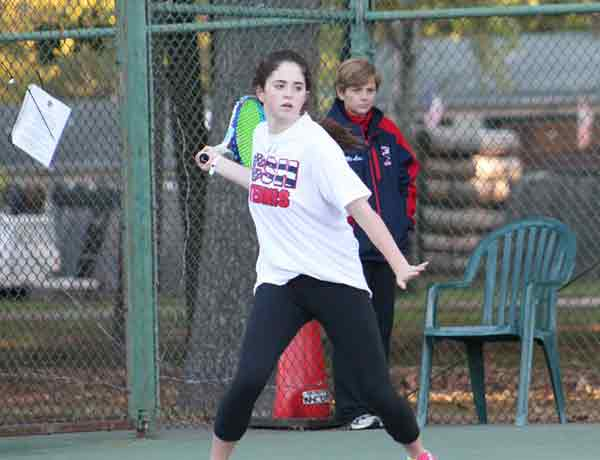 Merri Kelly Hannity playing tennis in Cold Spring Harbor