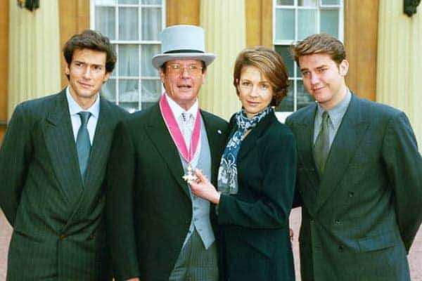 Happy moment for Roger Moore with children
