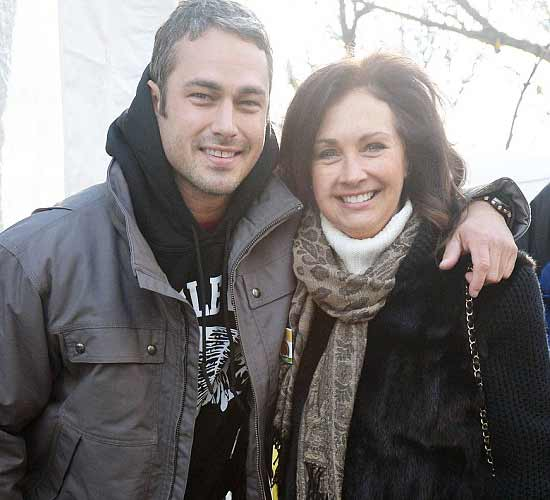 Taylor Kinney with his mother