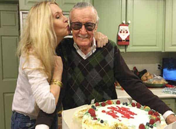 Joan Celia Lee happily kissing her father Stan Lee in his birthday