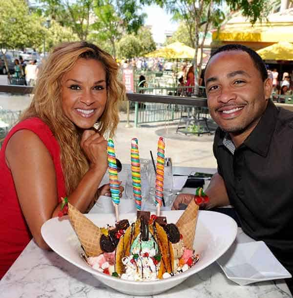 Terrell Fletcher celebrating their sixth wedding anniversary with his wife in Vegas