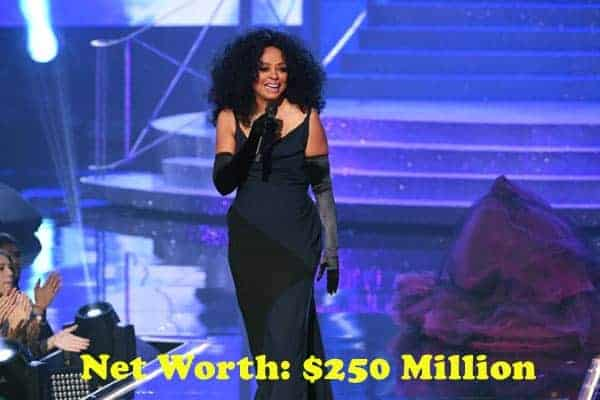Image of Diana Ross net worth is $250 million