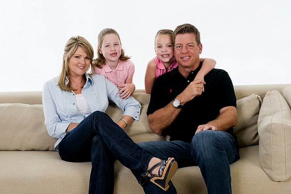 Image of Rhonda Worthey with his husband Troy Aikman and with their kids