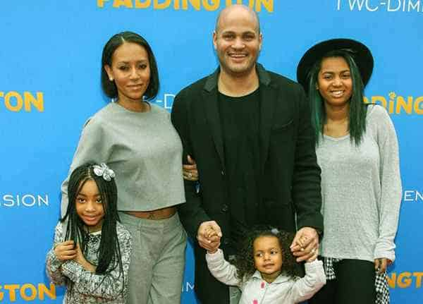Image of Melanie Janine Brown with her husband Stephen Belafonte and with kids