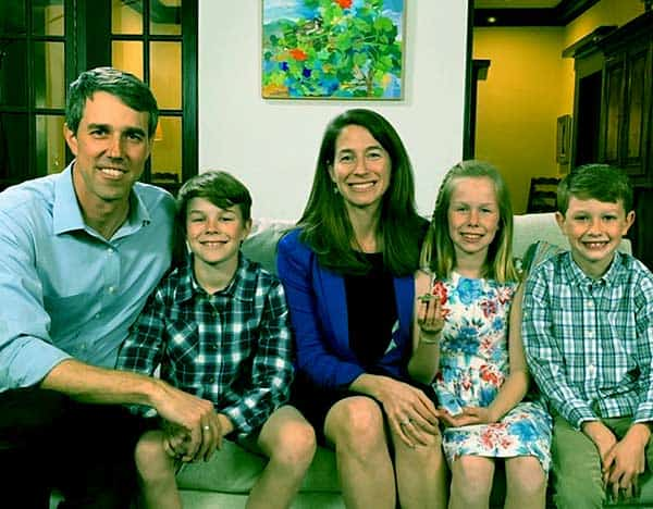 Image of Amy Hoover Sanders with her husband Beto O Rourke along with their kids